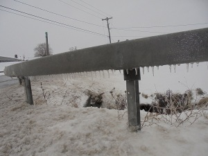 icy guardrail
