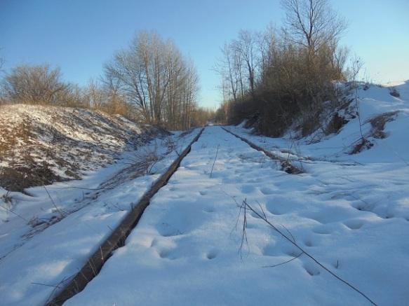 snow covered railroad tracks